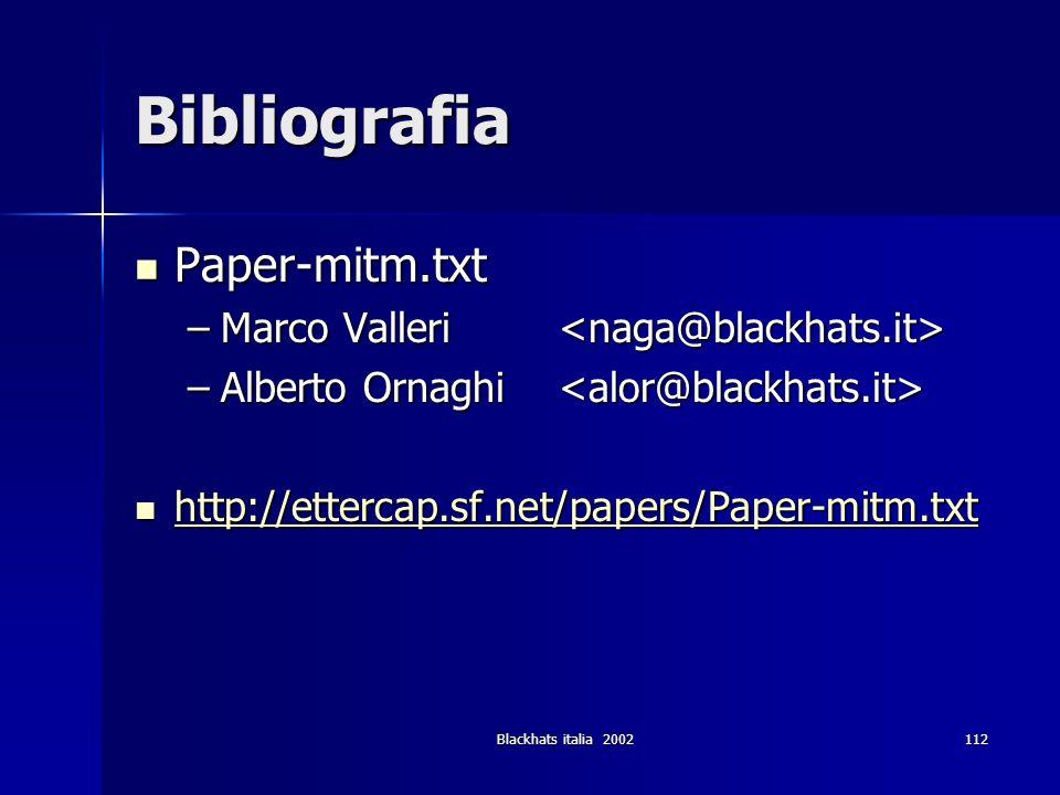 Blackhats italia 2002112 Bibliografia Paper-mitm.txt Paper-mitm.txt –Marco Valleri –Marco Valleri –Alberto Ornaghi –Alberto Ornaghi http://ettercap.sf