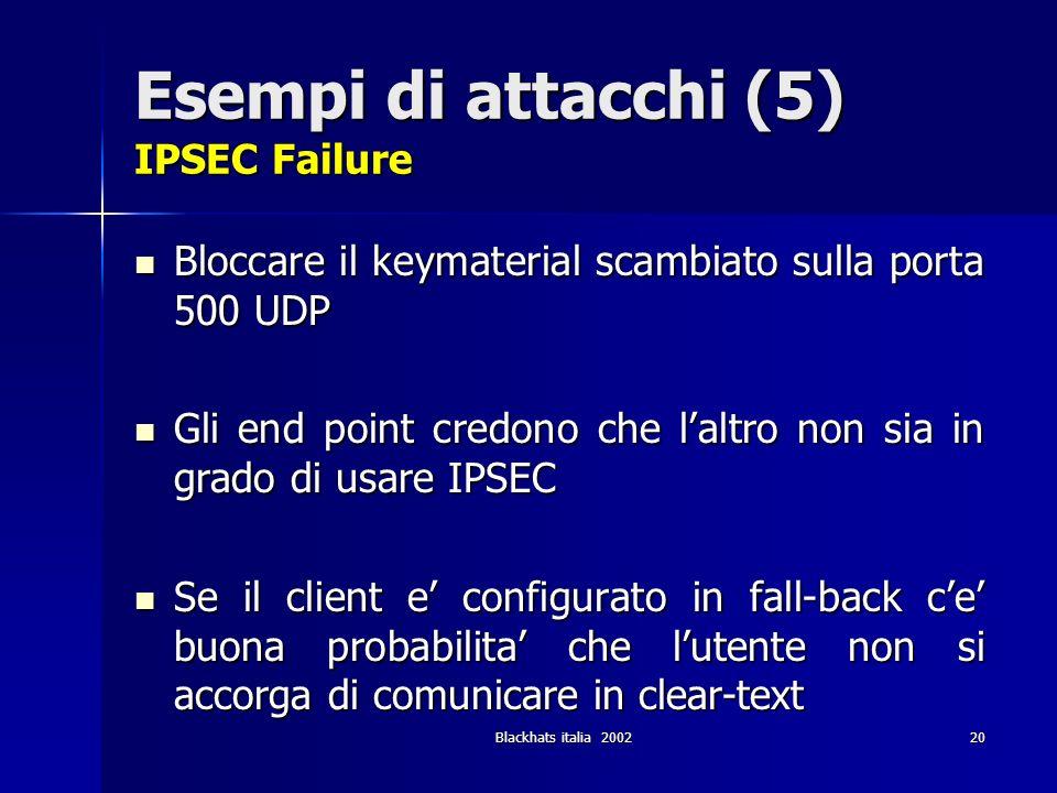 Blackhats italia 200220 Esempi di attacchi (5) IPSEC Failure Bloccare il keymaterial scambiato sulla porta 500 UDP Bloccare il keymaterial scambiato s