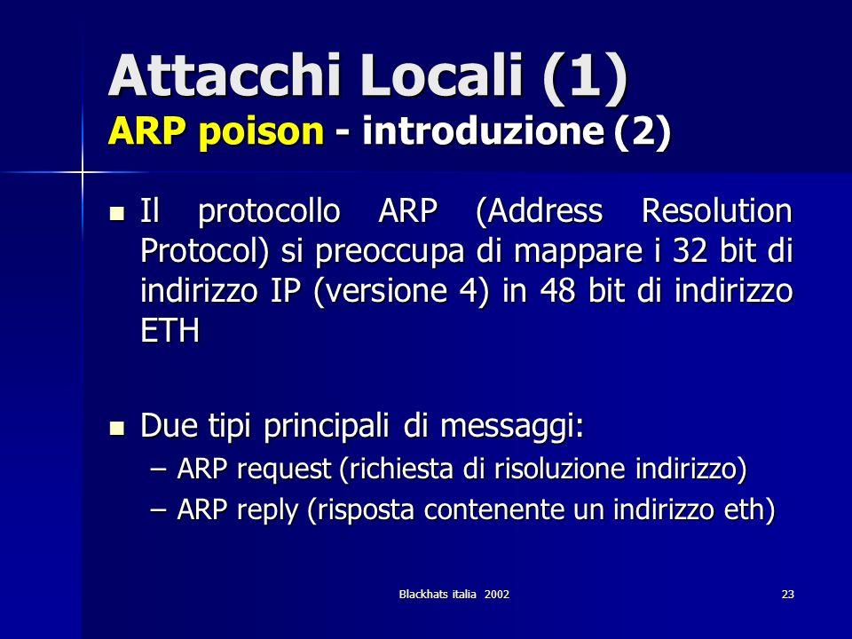 Blackhats italia 200223 Attacchi Locali (1) ARP poison - introduzione (2) Il protocollo ARP (Address Resolution Protocol) si preoccupa di mappare i 32
