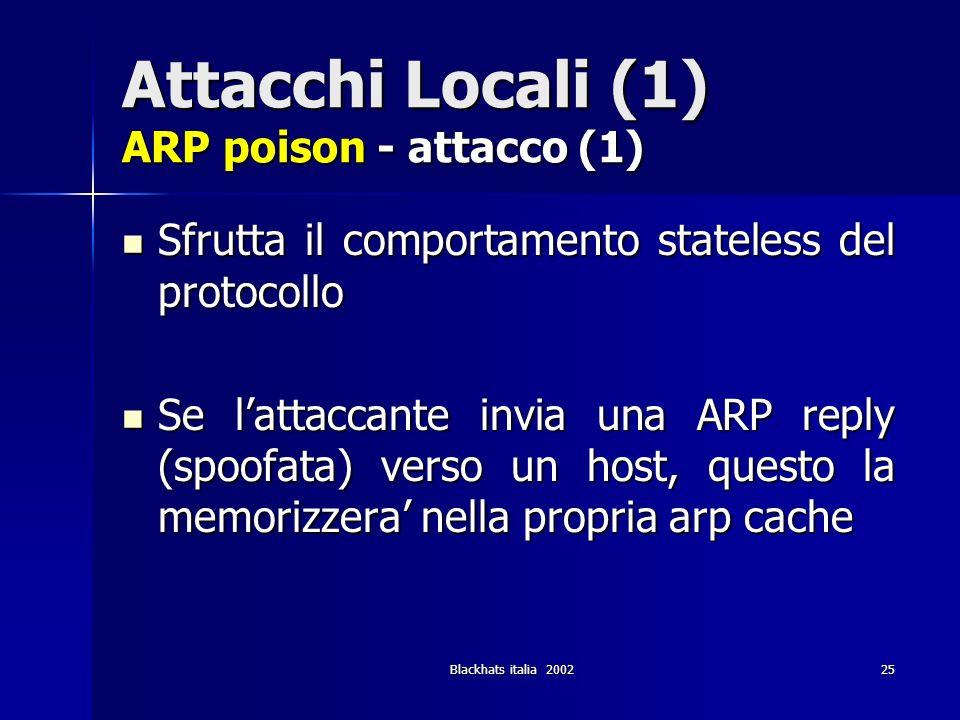 Blackhats italia 200225 Attacchi Locali (1) ARP poison - attacco (1) Sfrutta il comportamento stateless del protocollo Sfrutta il comportamento statel