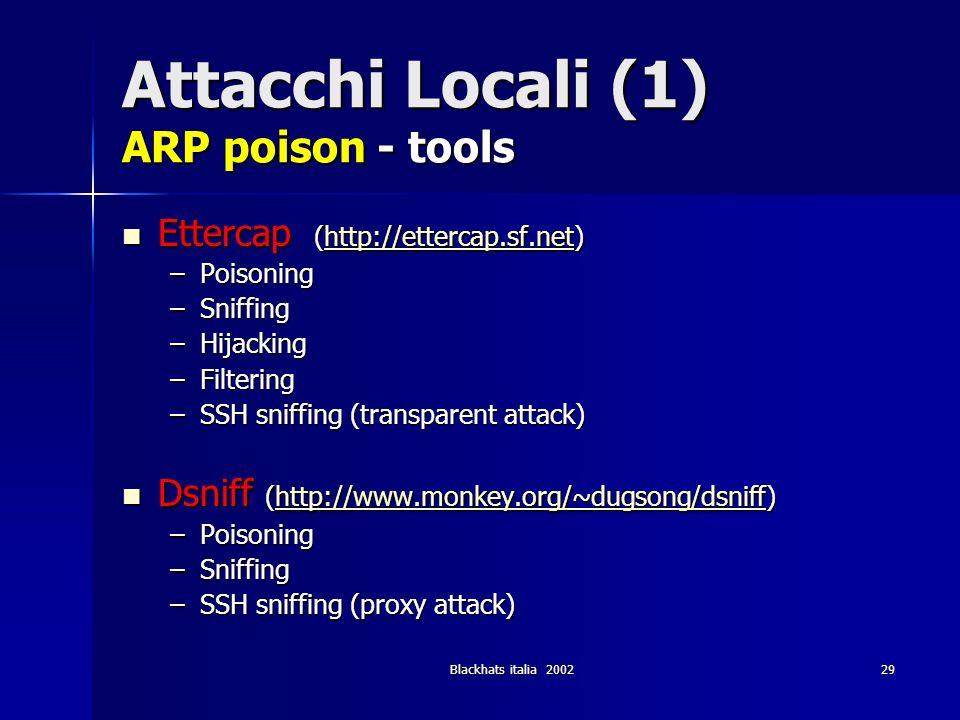 Blackhats italia 200229 Attacchi Locali (1) ARP poison - tools Ettercap (http://ettercap.sf.net) Ettercap (http://ettercap.sf.net)http://ettercap.sf.n