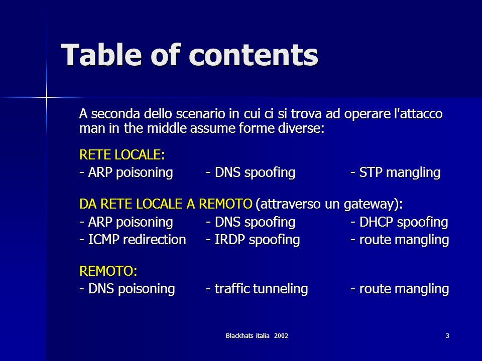 Blackhats italia 200244 Attacchi Locali (3) STP mangling - tools Ettercap (http://ettercap.sf.net) Ettercap (http://ettercap.sf.net)http://ettercap.sf.net –Lamia plugin