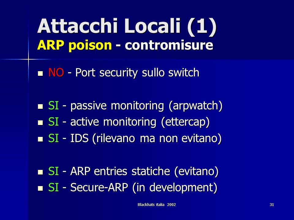 Blackhats italia 200231 Attacchi Locali (1) ARP poison - contromisure NO - Port security sullo switch NO - Port security sullo switch SI - passive mon