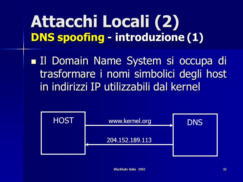 Blackhats italia 200232 Attacchi Locali (2) DNS spoofing - introduzione (1) Il Domain Name System si occupa di trasformare i nomi simbolici degli host