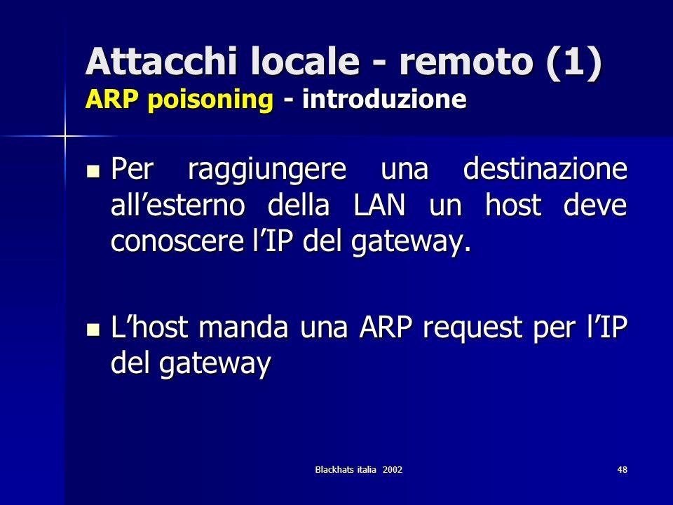 Blackhats italia 200248 Attacchi locale - remoto (1) ARP poisoning - introduzione Per raggiungere una destinazione allesterno della LAN un host deve c