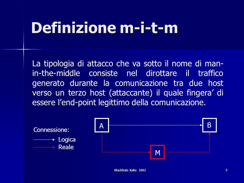 Blackhats italia 200236 Attacchi Locali (2) DNS spoofing - attacco (3) In questo caso lattaccante puo fungere da proxy per il server e rispondere in modo corretto a tutti i servizi che il client si aspetta di trovare sul server.