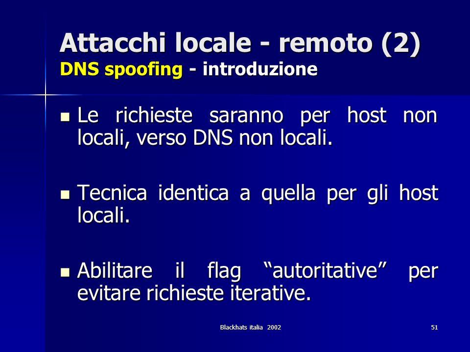 Blackhats italia 200251 Attacchi locale - remoto (2) DNS spoofing - introduzione Le richieste saranno per host non locali, verso DNS non locali. Le ri