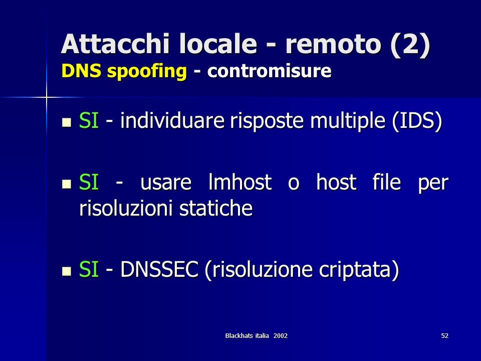 Blackhats italia 200252 Attacchi locale - remoto (2) DNS spoofing - contromisure SI - individuare risposte multiple (IDS) SI - individuare risposte mu