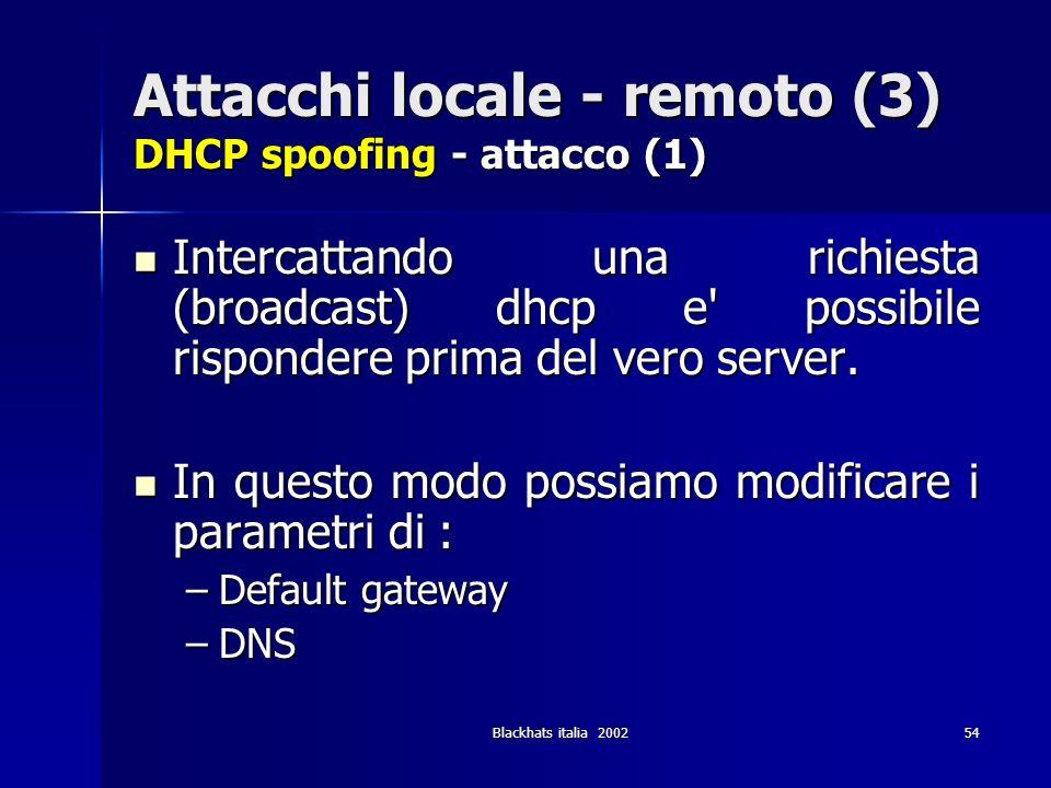 Blackhats italia 200254 Attacchi locale - remoto (3) DHCP spoofing - attacco (1) Intercattando una richiesta (broadcast) dhcp e' possibile rispondere
