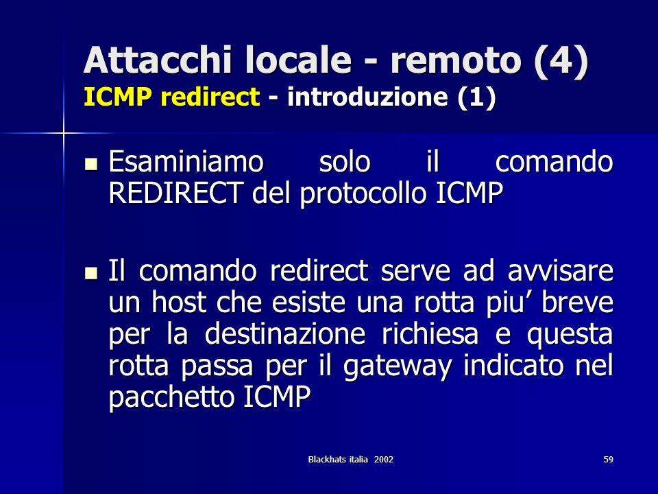Blackhats italia 200259 Attacchi locale - remoto (4) ICMP redirect - introduzione (1) Esaminiamo solo il comando REDIRECT del protocollo ICMP Esaminia