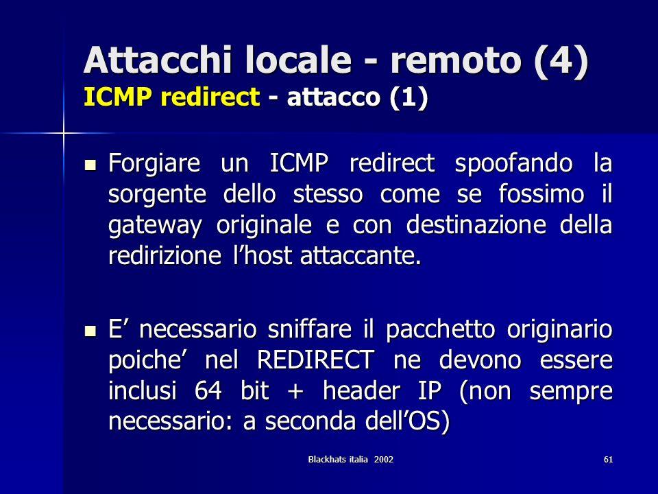 Blackhats italia 200261 Attacchi locale - remoto (4) ICMP redirect - attacco (1) Forgiare un ICMP redirect spoofando la sorgente dello stesso come se