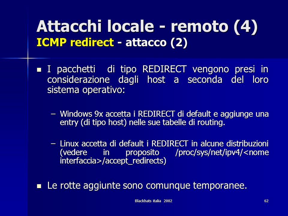Blackhats italia 200262 Attacchi locale - remoto (4) ICMP redirect - attacco (2) I pacchetti di tipo REDIRECT vengono presi in considerazione dagli ho