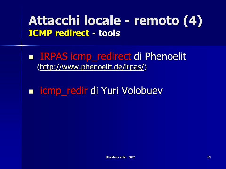 Blackhats italia 200263 Attacchi locale - remoto (4) ICMP redirect - tools IRPAS icmp_redirect di Phenoelit (http://www.phenoelit.de/irpas/) IRPAS icm