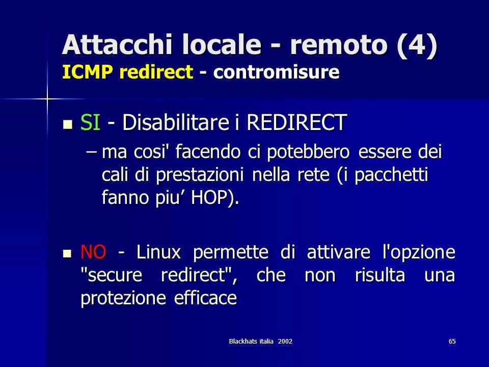 Blackhats italia 200265 Attacchi locale - remoto (4) ICMP redirect - contromisure SI - Disabilitare i REDIRECT SI - Disabilitare i REDIRECT –ma cosi'