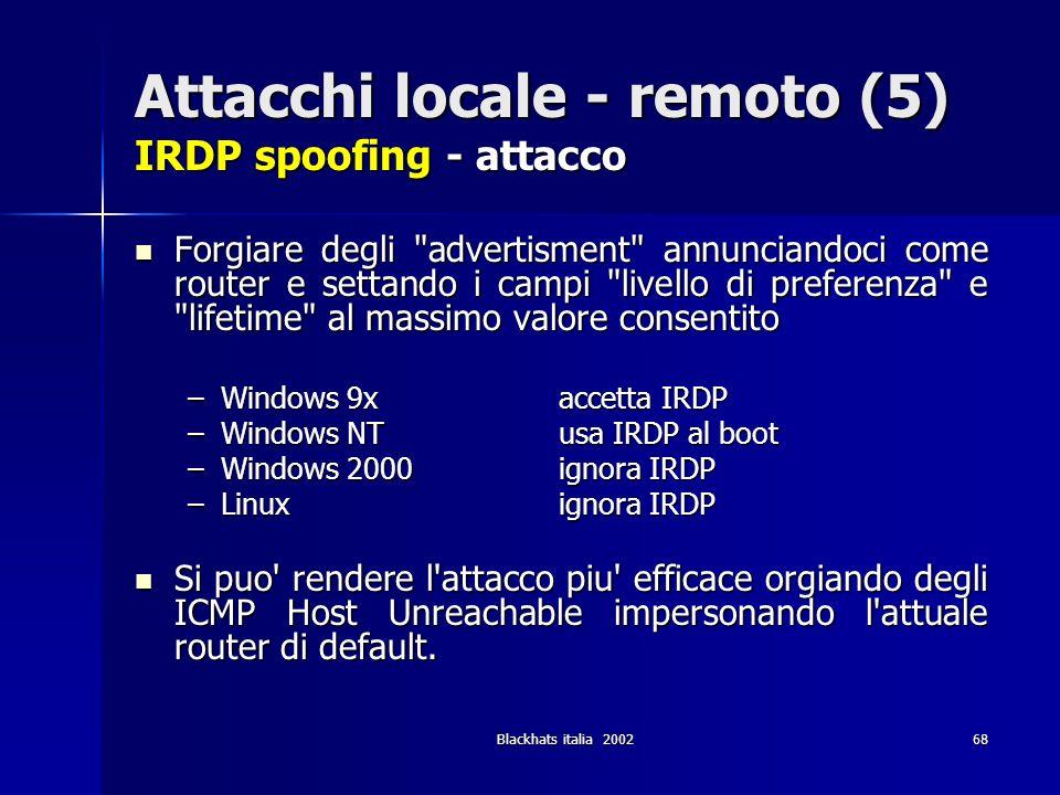 Blackhats italia 200268 Attacchi locale - remoto (5) IRDP spoofing - attacco Forgiare degli