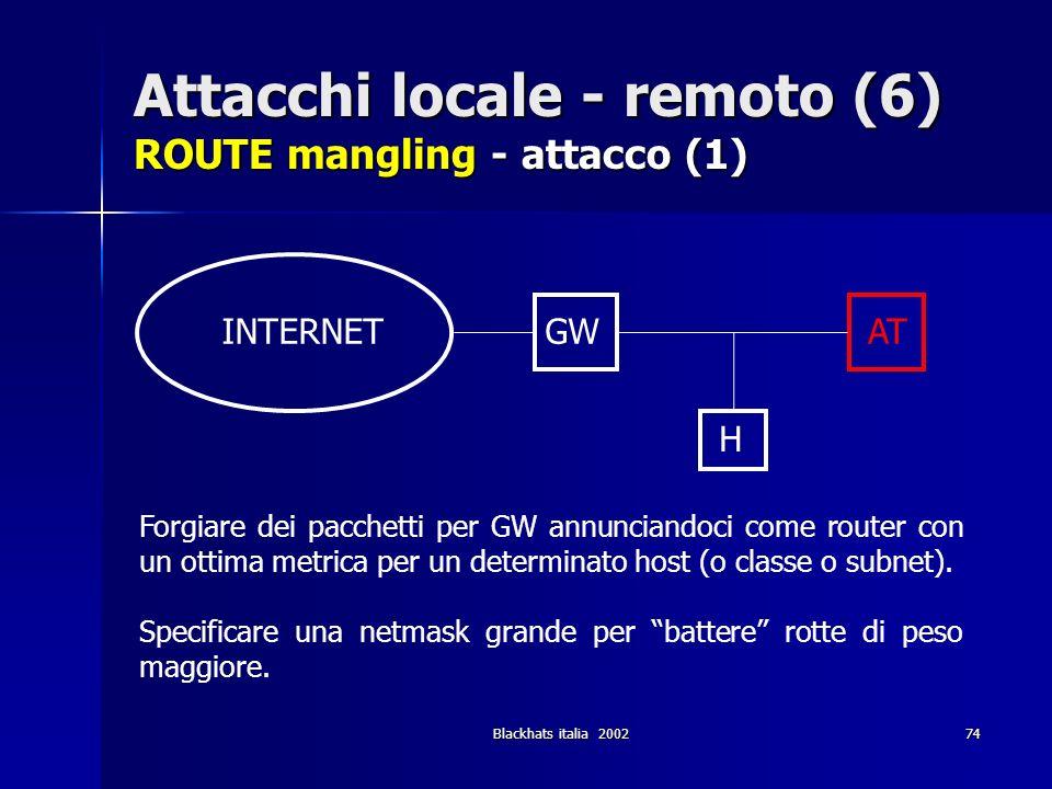 Blackhats italia 200274 Attacchi locale - remoto (6) ROUTE mangling - attacco (1) Forgiare dei pacchetti per GW annunciandoci come router con un ottim