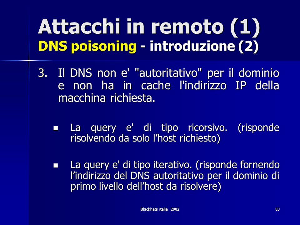 Blackhats italia 200283 Attacchi in remoto (1) DNS poisoning - introduzione (2) 3.Il DNS non e'