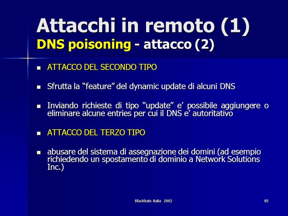 Blackhats italia 200285 Attacchi in remoto (1) DNS poisoning - attacco (2) ATTACCO DEL SECONDO TIPO ATTACCO DEL SECONDO TIPO Sfrutta la feature del dy