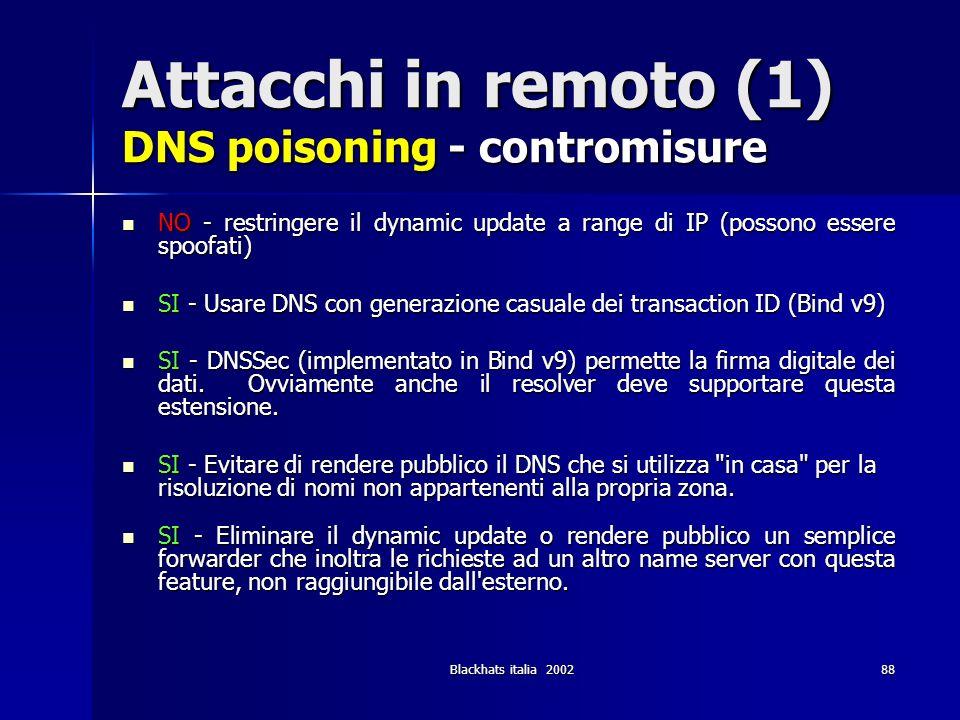 Blackhats italia 200288 Attacchi in remoto (1) DNS poisoning - contromisure NO - restringere il dynamic update a range di IP (possono essere spoofati)