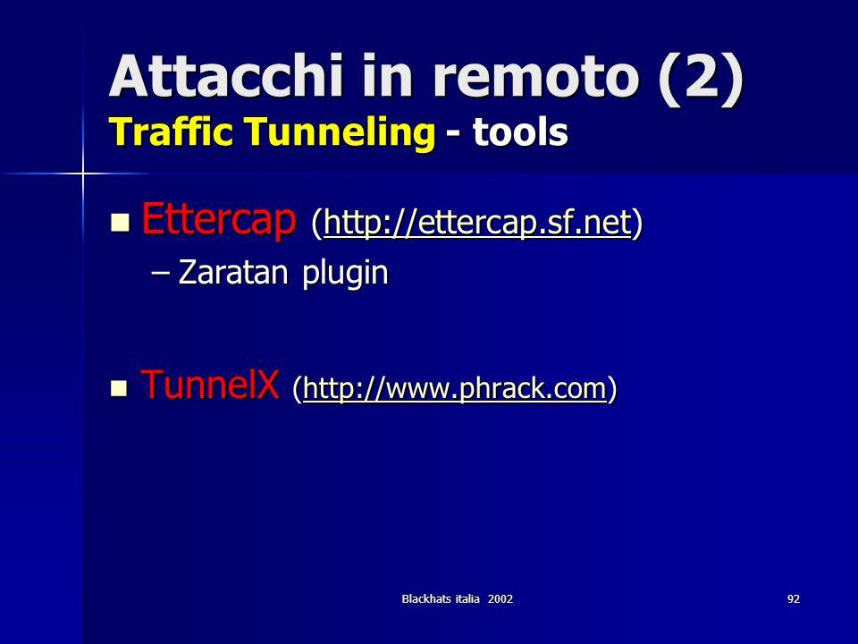 Blackhats italia 200292 Attacchi in remoto (2) Traffic Tunneling - tools Ettercap (http://ettercap.sf.net) Ettercap (http://ettercap.sf.net)http://ett