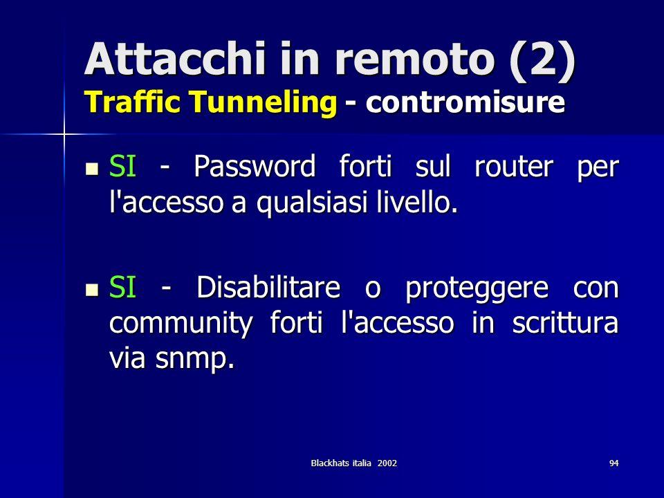 Blackhats italia 200294 Attacchi in remoto (2) Traffic Tunneling - contromisure SI - Password forti sul router per l'accesso a qualsiasi livello. SI -