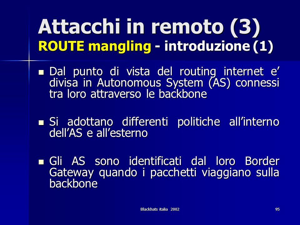 Blackhats italia 200295 Attacchi in remoto (3) ROUTE mangling - introduzione (1) Dal punto di vista del routing internet e divisa in Autonomous System