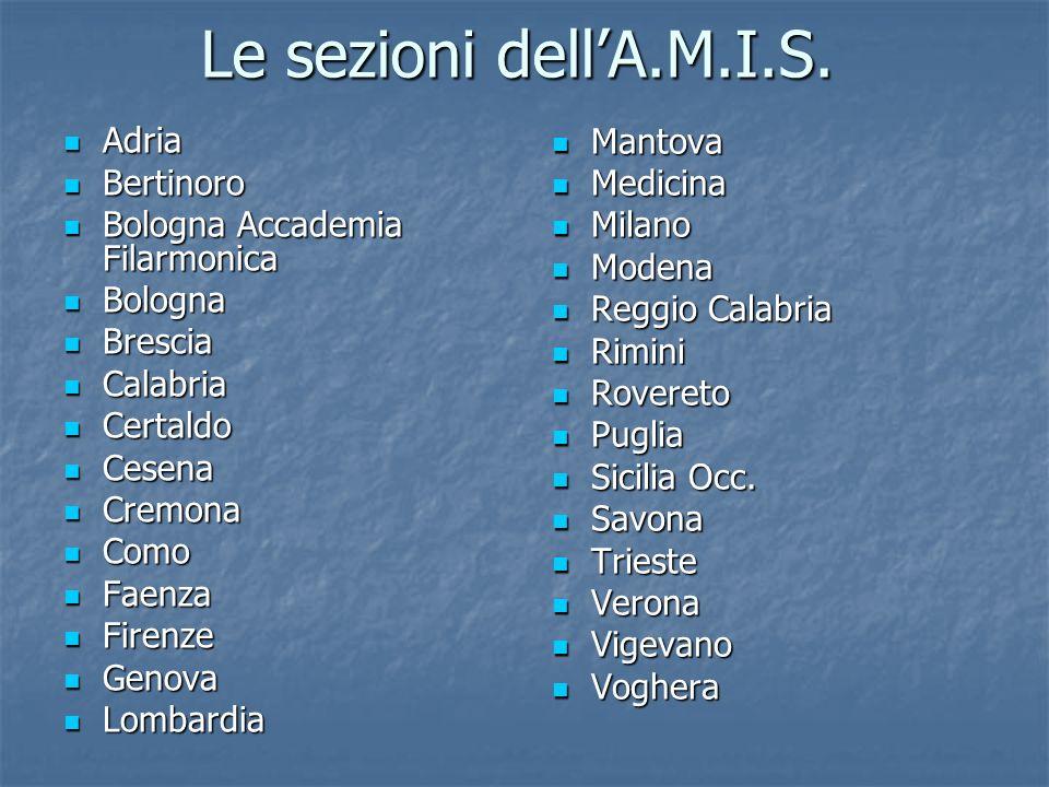 Le sezioni dellA.M.I.S. Adria Adria Bertinoro Bertinoro Bologna Accademia Filarmonica Bologna Accademia Filarmonica Bologna Bologna Brescia Brescia Ca