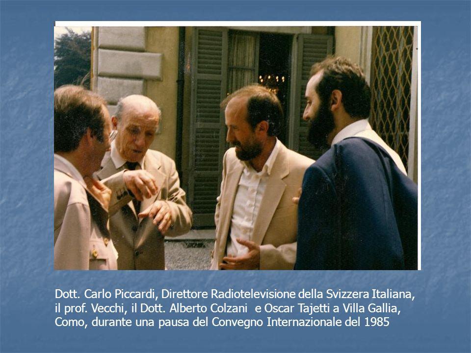 Dott. Carlo Piccardi, Direttore Radiotelevisione della Svizzera Italiana, il prof. Vecchi, il Dott. Alberto Colzani e Oscar Tajetti a Villa Gallia, Co