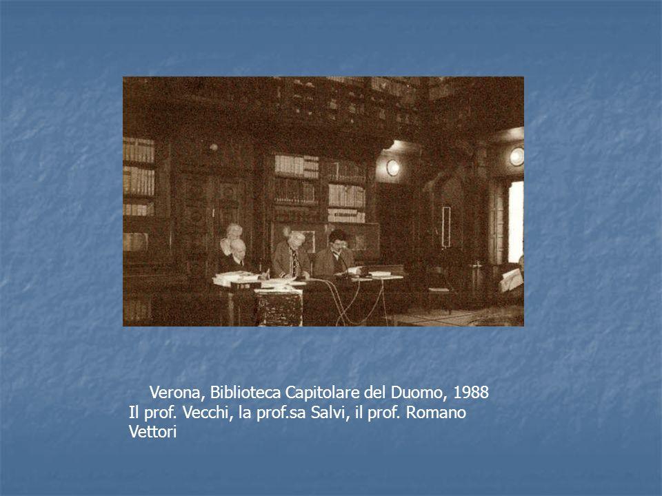 Verona, Biblioteca Capitolare del Duomo, 1988 Il prof. Vecchi, la prof.sa Salvi, il prof. Romano Vettori