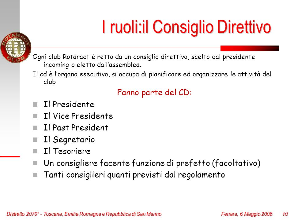 Distretto 2070° - Toscana, Emilia Romagna e Repubblica di San Marino 10 Ferrara, 6 Maggio 2006 Distretto 2070° - Toscana, Emilia Romagna e Repubblica