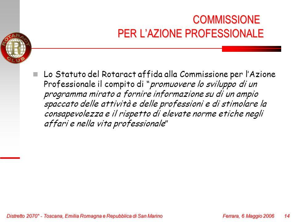 Distretto 2070° - Toscana, Emilia Romagna e Repubblica di San Marino 14 Ferrara, 6 Maggio 2006 Distretto 2070° - Toscana, Emilia Romagna e Repubblica