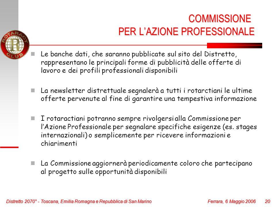 Distretto 2070° - Toscana, Emilia Romagna e Repubblica di San Marino 20 Ferrara, 6 Maggio 2006 Distretto 2070° - Toscana, Emilia Romagna e Repubblica