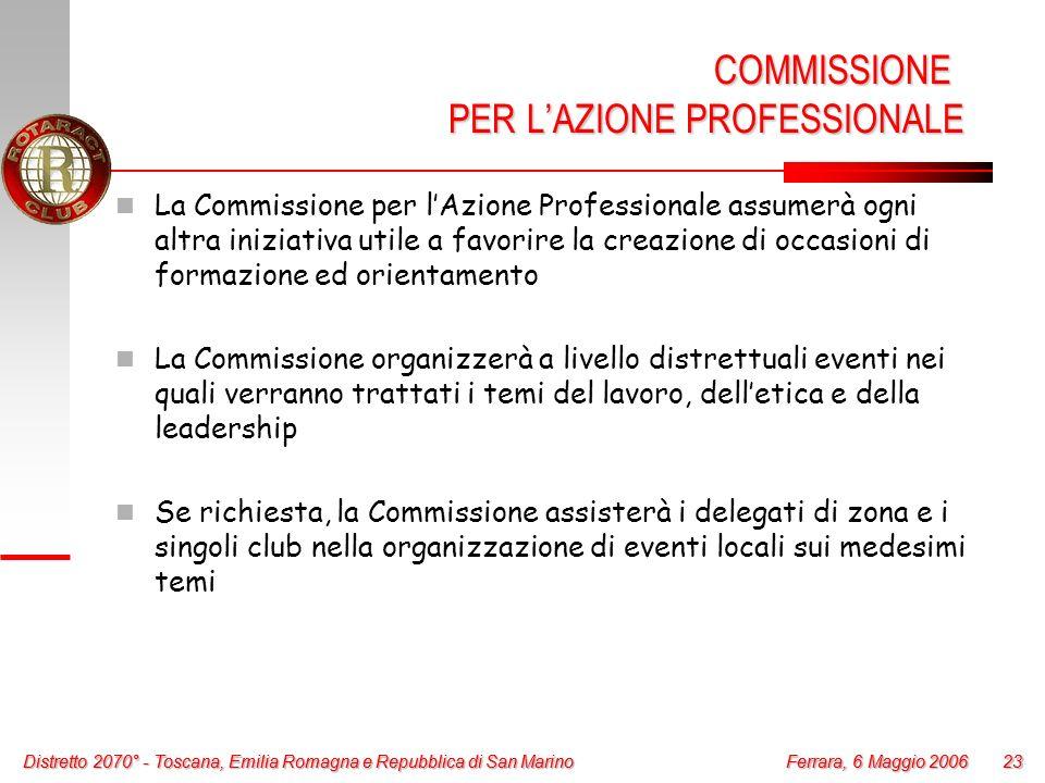 Distretto 2070° - Toscana, Emilia Romagna e Repubblica di San Marino 23 Ferrara, 6 Maggio 2006 Distretto 2070° - Toscana, Emilia Romagna e Repubblica