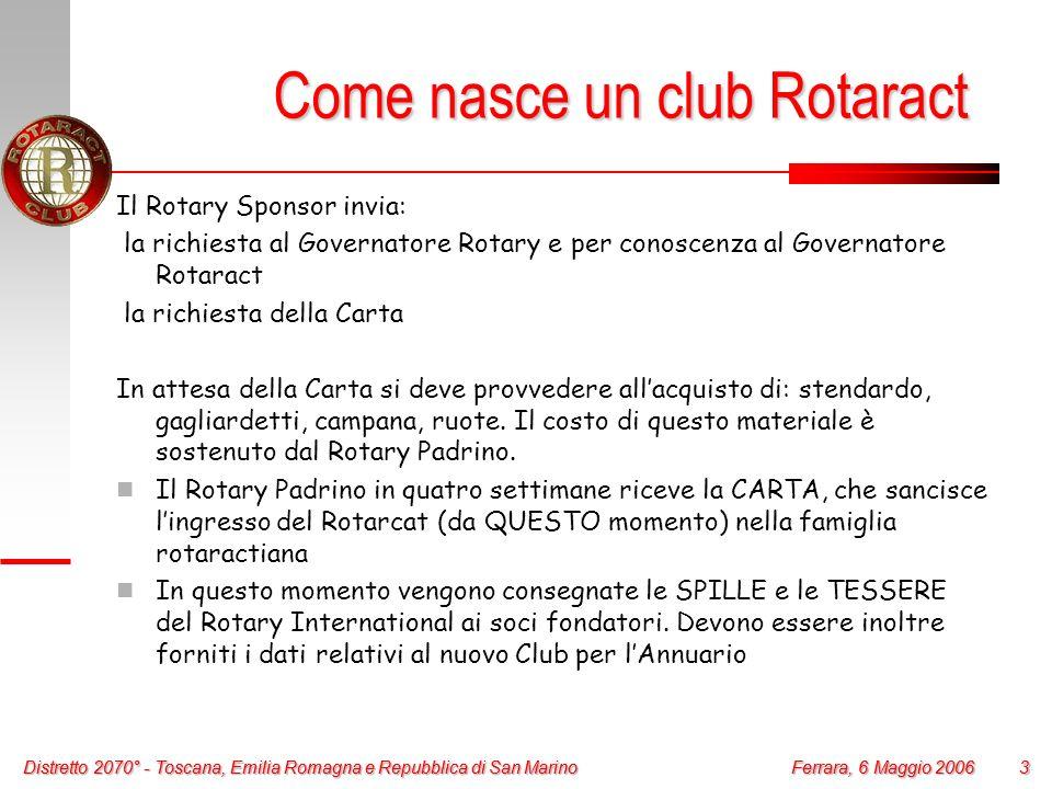 Distretto 2070° - Toscana, Emilia Romagna e Repubblica di San Marino 3 Ferrara, 6 Maggio 2006 Distretto 2070° - Toscana, Emilia Romagna e Repubblica d
