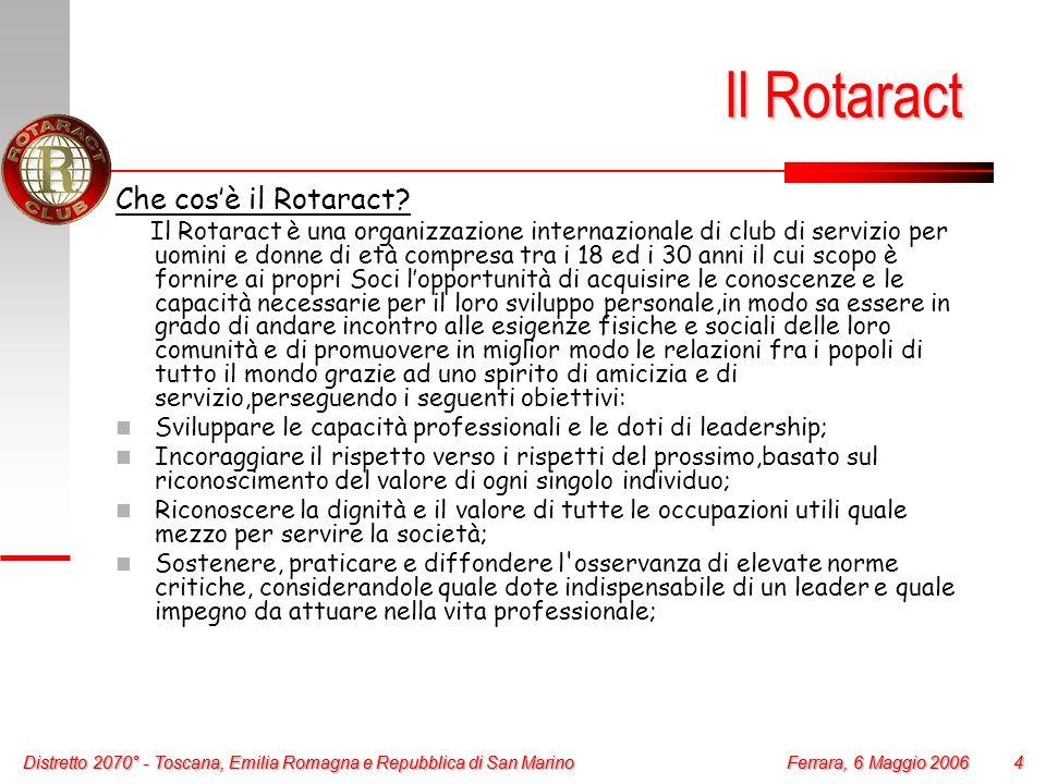 Distretto 2070° - Toscana, Emilia Romagna e Repubblica di San Marino 4 Ferrara, 6 Maggio 2006 Distretto 2070° - Toscana, Emilia Romagna e Repubblica d