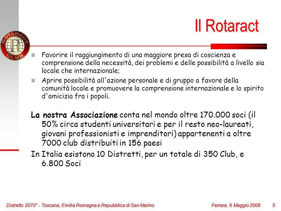 Distretto 2070° - Toscana, Emilia Romagna e Repubblica di San Marino 5 Ferrara, 6 Maggio 2006 Distretto 2070° - Toscana, Emilia Romagna e Repubblica d