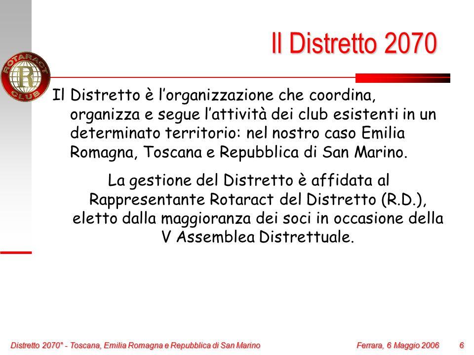 Distretto 2070° - Toscana, Emilia Romagna e Repubblica di San Marino 6 Ferrara, 6 Maggio 2006 Distretto 2070° - Toscana, Emilia Romagna e Repubblica d