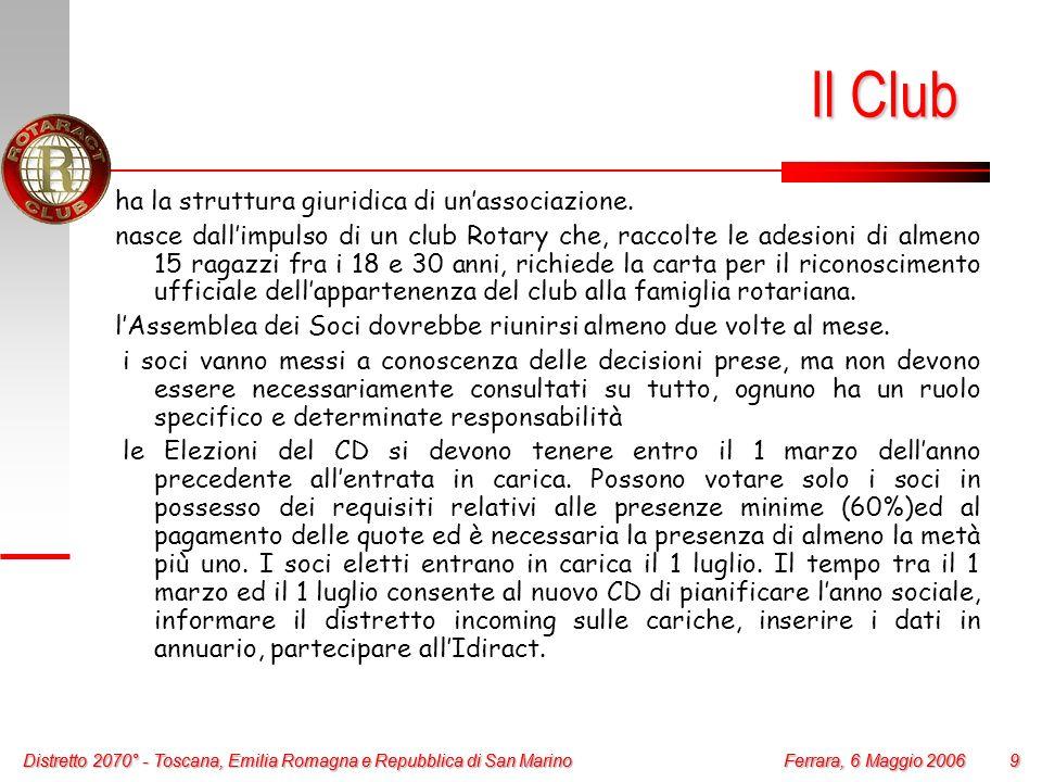 Distretto 2070° - Toscana, Emilia Romagna e Repubblica di San Marino 9 Ferrara, 6 Maggio 2006 Distretto 2070° - Toscana, Emilia Romagna e Repubblica d