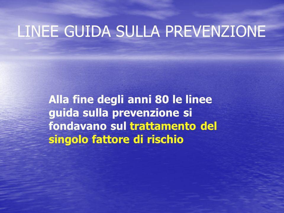Alla fine degli anni 80 le linee guida sulla prevenzione si fondavano sul trattamento del singolo fattore di rischio LINEE GUIDA SULLA PREVENZIONE