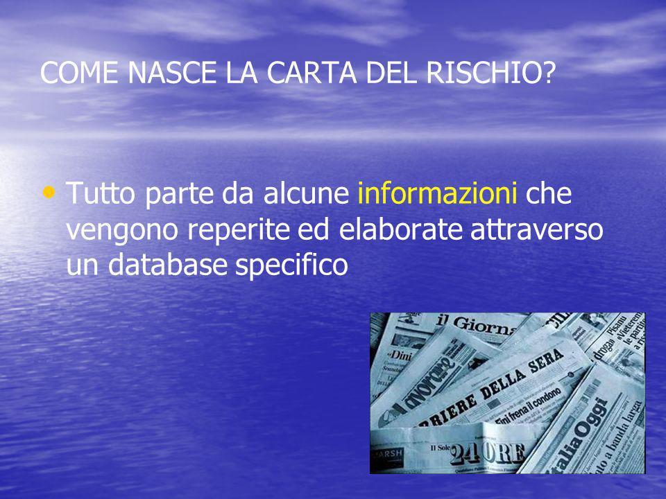 COME NASCE LA CARTA DEL RISCHIO? Tutto parte da alcune informazioni che vengono reperite ed elaborate attraverso un database specifico
