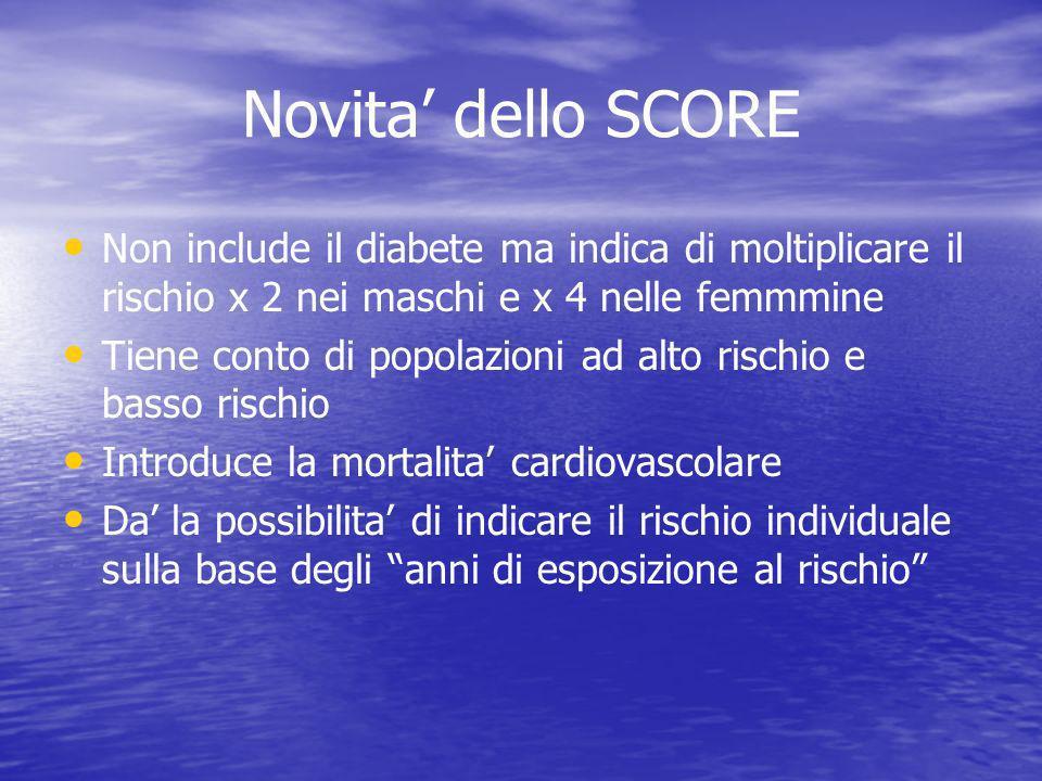 Novita dello SCORE Non include il diabete ma indica di moltiplicare il rischio x 2 nei maschi e x 4 nelle femmmine Tiene conto di popolazioni ad alto