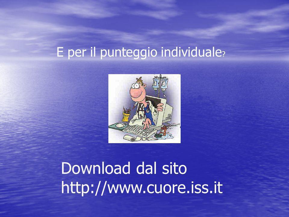 Download dal sito http://www.cuore.iss.it E per il punteggio individuale ?