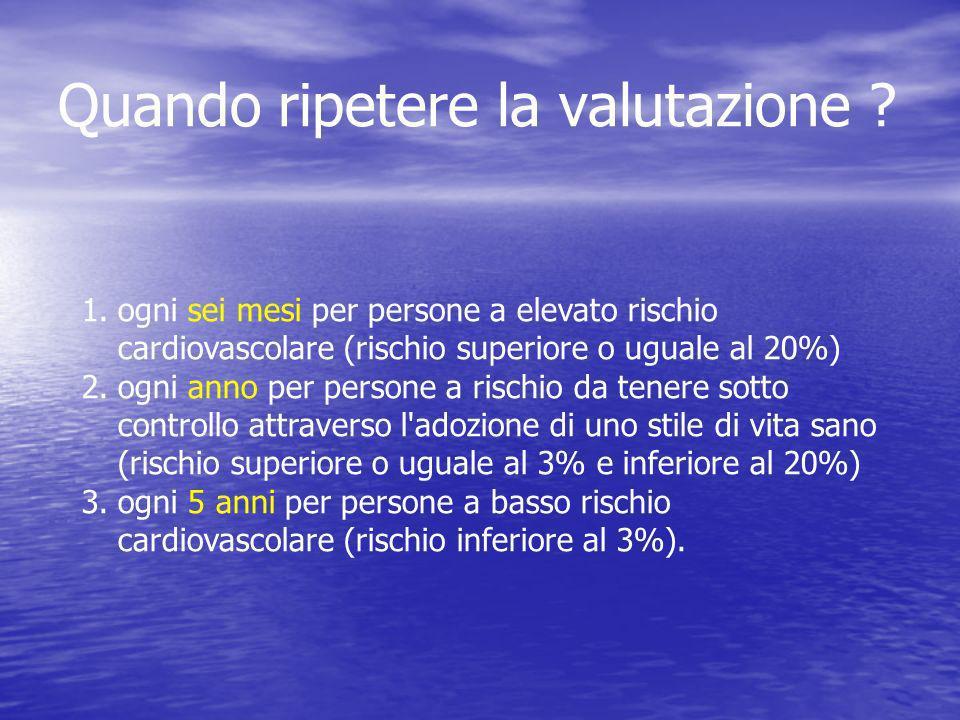 1.ogni sei mesi per persone a elevato rischio cardiovascolare (rischio superiore o uguale al 20%) 2.ogni anno per persone a rischio da tenere sotto co