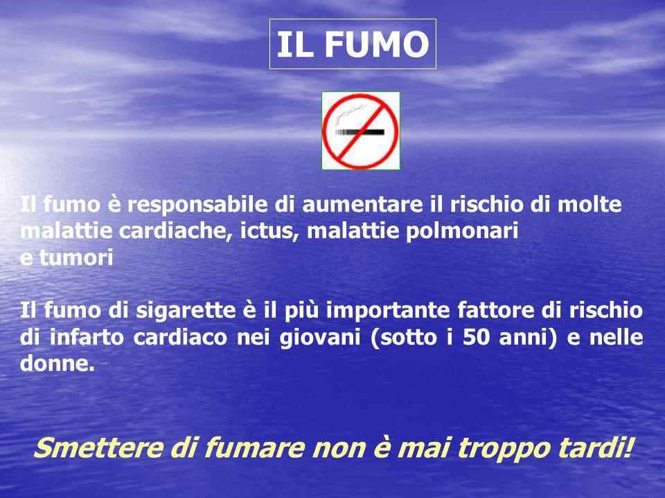 IL FUMO Il fumo è responsabile di aumentare il rischio di molte malattie cardiache, ictus, malattie polmonari e tumori Il fumo di sigarette è il più i