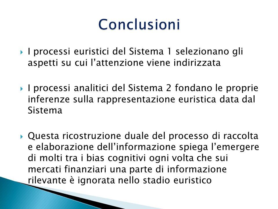 I processi euristici del Sistema 1 selezionano gli aspetti su cui lattenzione viene indirizzata I processi analitici del Sistema 2 fondano le proprie