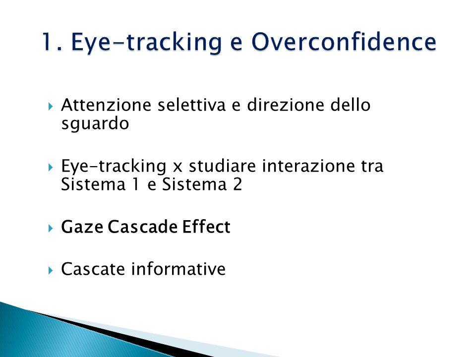 Attenzione selettiva e direzione dello sguardo Eye-tracking x studiare interazione tra Sistema 1 e Sistema 2 Gaze Cascade Effect Cascate informative