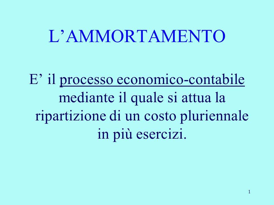 2 Lammortamento è un processo con cui si esegue sistematicamente, cioè secondo un piano prefissato, la ripartizione del costo dei beni strumentali ad utilizzazione limitata nel tempo fra gli esercizi nei quali essi rilasciano la loro utilità.