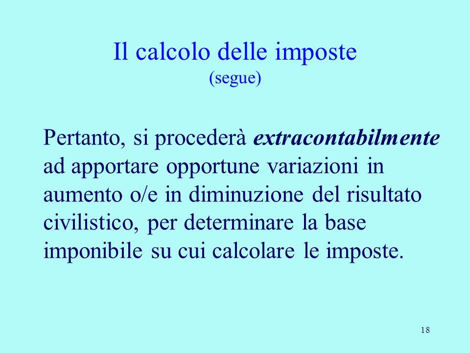 18 Pertanto, si procederà extracontabilmente ad apportare opportune variazioni in aumento o/e in diminuzione del risultato civilistico, per determinar
