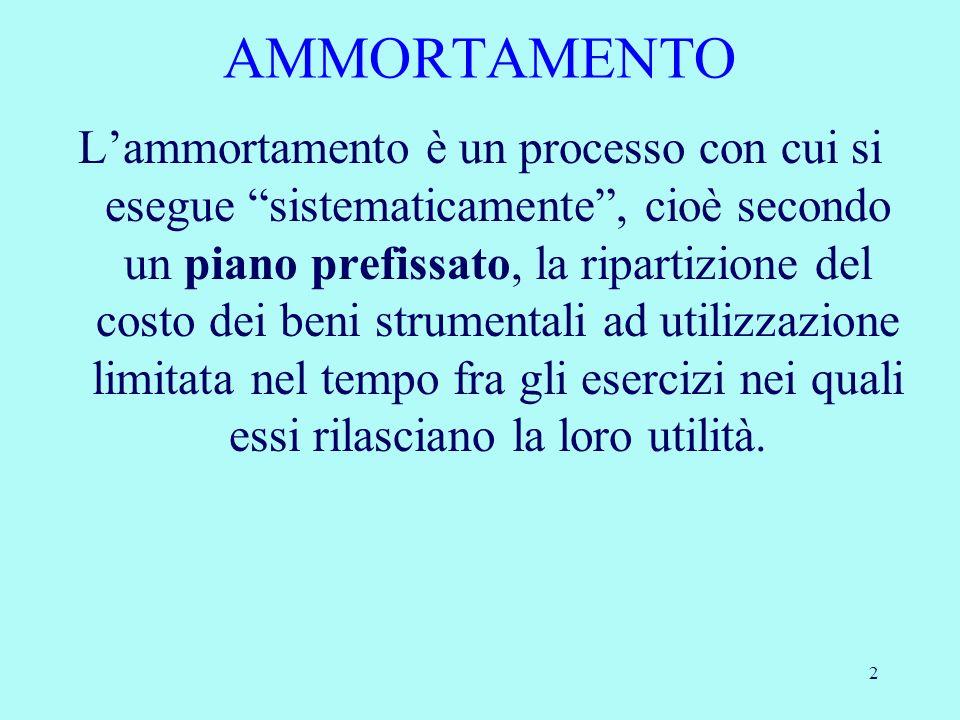 2 Lammortamento è un processo con cui si esegue sistematicamente, cioè secondo un piano prefissato, la ripartizione del costo dei beni strumentali ad