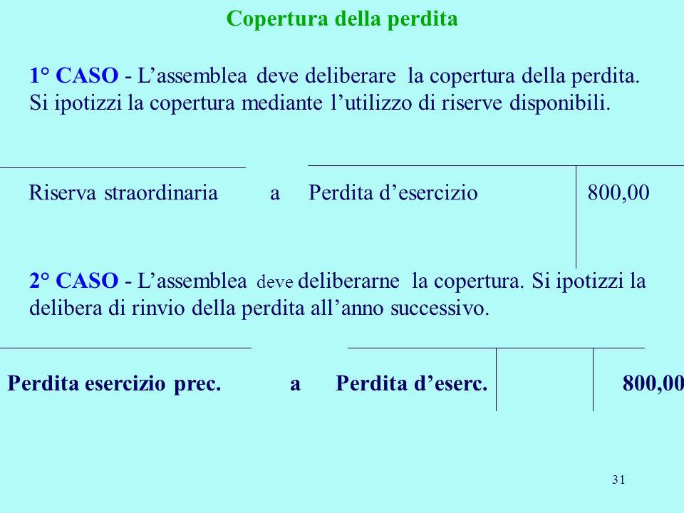 31 Riserva straordinaria a Perdita desercizio 800,00 1° CASO - Lassemblea deve deliberare la copertura della perdita. Si ipotizzi la copertura mediant